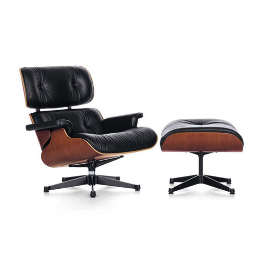 Ray Eames Lounge Chair mit Ottomane aus Leder